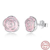 Wholesale Valentine Ladies Jewelry - Sweet Pink Rose Flower Stud Earrings 925 Sterling Silver Earring Womens Ladies Fashion Jewelry Handmade Valentine Gifts DC29
