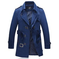 Wholesale Mens Double Trench Coats - fashion mens designer clothing trench coat double breasted men casaco masculino manteau homme jacket men overcoat big size