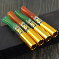 Wholesale Green Pipe Cleaners - Natural Red Green Agate Cigarette Holder Filter Mini Tobacco Cleaning Pipe Tube Portable Healthy Cigarette Filter Promotion Gift YD038