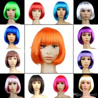 "Wholesale New Fashionable Party Wig - New Fashionable BOB style Short Party Wig Wigs multicolors colors Halloween Christmas Women""s Girls Fashion Hair Wigs Hairpiece 110104"