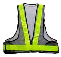 schwarze sicherheitswesten großhandel-Hohe Sichtbarkeit Warnweste PVC reflektierende Band Sicherheit Kleidung schwarz Mesh