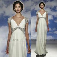 Wholesale Jenny Packham Simple Wedding Dresses - Sexy Deep V Neck 2015 Summer Wedding Dresses for Beach Wedding with Short Sleeve Beaded Sequins Crystal Chiffon Bridal Gowns Jenny Packham