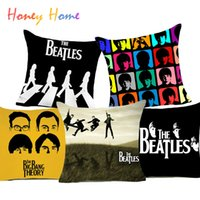 Wholesale Beatles Pillows - The Beatles Polyester Cushion Cover Beatlemania British Rock Band Home Decorative Pillow Case for Sofa Car Cheap Cushion