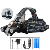LED Headlamp T6 LED Head Torch Flashlight 10000 Lumens LED Head Lamp 180 graus Girando duas luzes de luz de bicicleta Bike Light