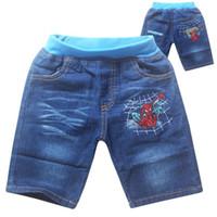 Wholesale Wearing Jeans Summer - The new 2015 summer denim shorts boy cartoon cowboy pants in children's wear jeans