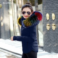 Wholesale Orange Coat Fur Collar - Wholesale- SIJIMZ Winter Jacket Women 2017 winter warm down jacket women thick paragraph Artificial Raccoon Fur Collar women's coat jacket
