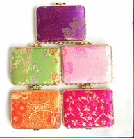Wholesale Style Compact Mirrors - Elegant Square Ladies Pocket Compact Mirrors Party Favors Silk Folding Portable Double Sided Makeup Mirror 50pcs lot mix color styles