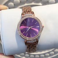 cadeia feminina sexy venda por atacado-Itens quentes mulheres sexy relógio de pulso com diamante de ouro rosa pulseira de aço cadeia senhora relógio de pulso marca de mesa de quartzo relogio masculino