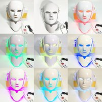 Wholesale Bio Light Led Machines - 7 Colors BIO Light LED Therapy Face Mask Machine Photon PDT Skin Rejuvenation Wrinkle Removal Home Salon Facial Neck Beauty Equipment