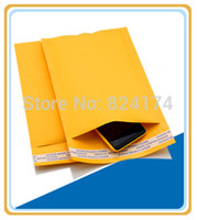 Wholesale Envelope Printed - Wholesale-100PCS 9cmx13+4cm Good quality Yellow Color Kraft Paper Air Bubble Bag Mailers Envelope wthout printing