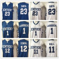 2017 Kentucky Wildcats College Jerseys 11 John Wall 23 Anthony Davis 1 Skal Labissiere Pallacanestro Camicie blu bianco all'ingrosso