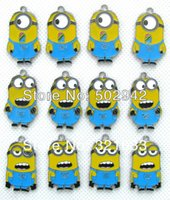 Wholesale Wholesale Minion Charms - Small wholesale metal Cartoon Despicable Me Tim the Minion DIY mobile phone charms pendants party favor Gift 50pcs free shipping