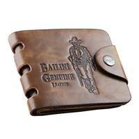 tarjetas de vaqueros al por mayor-Cartera de cuero de la caja del sostenedor de la tarjeta del diseñador del mens retro de los hombres del vaquero carteras bifold del monedero para los hombres envío libre
