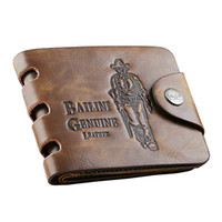 Wholesale Leather Purse Case - Mens designer card holder case wallet leather retro cowboy men bifold purse wallets for men free shipping