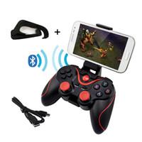 laptops al por mayor-T3 inalámbrico Bluetooth Gamepad Joystick Controlador de juegos para Android Teléfono inteligente para PC Portátil Control remoto para juegos con soporte móvil