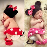 Wholesale Hats Skirts - 2015 Mickey Designs Crochet Baby Hats Photo Props Infant Costume Outfits Newborn Crochet Beanies&&skirt&pants&shoes Clothes 4 pieces 1 set