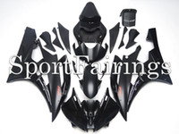 Wholesale Motorcycle Plastic Yamaha R6 - Injection Fairings For Yamaha YZF600 R6 Year 06 07 2006 2007 ABS Plastics Motorcycle Fairing Kit Bodywork Cowling Flat Black with Red Logos