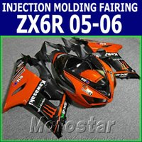 Wholesale black orange motorcycle fairing for sale - Group buy 100 Injection molding fairing kit for Kawasaki ZX6R ZX636 black orange motorcycle fairings Ninja ZX R GH30