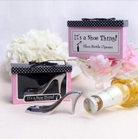 Wholesale Bridal Shower Shoes - Wholesale- 1 pcs Cute High Heel Shoe Wine Bottle Opener Bridal Baby Shower Souvenirs Party Accessories Wedding Favors And Gifts for guests