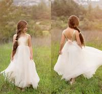 Wholesale Aline Communion Dress - 2017 Teen Flower Girls Dresses For Weddings Sequins Tulle Floor Length Long Backless Aline Christening Communion Birthday Dresses