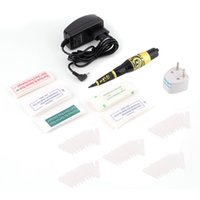 Wholesale Eyebrow Stencils Permanent Makeup - Permanent Makeup Eyebrow Tattoo Pen Machine Make Up Kit with 50 Needles 50 Tips EU or US Plugs U-Pick Free Shipping