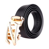 Wholesale Mens Adjustable Belts - Mens Leather Belts Waist Strap Luxury Adjustable Ratchet Fashion Casual Alloy Automatic Buckle Belts for Men Waistband xxxl 130cm bzw13