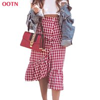 All'ingrosso-OOTN Check Gingham Maxi Gonna Donna Rosso Bianco Plaid Impero Gonne lunghe arruffato Donna Autunno Inverno Gonna a vita alta in cotone Club