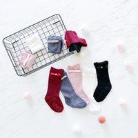 Wholesale Bow Legged Toddler - Winter Newborn infant plush socks fashion baby girls pearl double Bows princess socks toddler kids velvet thicken warmer legs R1072