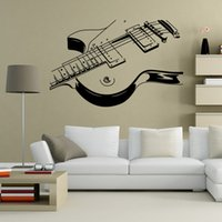 Wholesale Large Vinyl Music Wall Stickers - 6 Style Black Art Guitar Wall Stickers DIY Home Decorations Music Wall Decals Living Room Home Decor