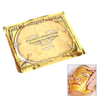 Wholesale Whitening Moisturizing Facial Mask - Gold Bio-collagen Face Mask Crystal Collagen Gold Powder Facial Mask Moisturizing Whitening Anti-aging Mask Face Skin Care 10 sheets lot