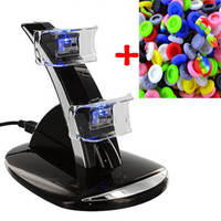 Wholesale gaming accessories - LED Dual USB Charging Dock Cradle Station Stand for Playstation 4 PS4 Game Gaming Controller+Analog Thumbstick Grips Accessories