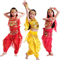 Wholesale Indian Outfits - Girls Kids Belly Dance Costume Top Pants Bollywood Indian Dancing Outfit Children's Performance Stage Wear 3 Colors