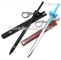 Commercio all'ingrosso della spada all'ingrosso-2pcs / lot in linea il nero Kirito Asuna Sword Elucidator / ciondolo portachiavi Cosplay Keychain Flash