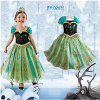 Wholesale Snow Cap Style - 2015 New Christmas Girls Dress Winter Anna Elsa princess Dresses Kids Clothes Children's Clothing Party Snow Queen Costume