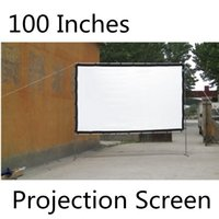 Wholesale-100 Inches mobile Projektionswand White Screen Multimedia-Projektor Gebrauchte Aufprojektionsschirm Wand