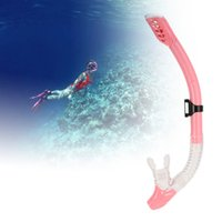 Wholesale Purge Snorkel - Anti-breakage Flexible Swimming Dry pink Snorkel Diving Spearfishing Scuba Snorkel Breathing Tube Silicone Mouthpiece One-way Purge Valve