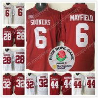 Wholesale Purple Football Jersey 28 - Oklahoma Sooners #6 Baker Mayfield 28 Adrian Peterson 44 Brian Bosworth 32 Samaje Perine Red White Limited College Football Rose Bowl Jersey