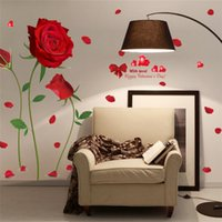 Wholesale Sticker Plastic Roses Flower - Removable Red Rose Flower Wall Sticker Mural Decal Home Room Art Decor DIY Birthday Christmas Wedding Decoration Factory Wholesale