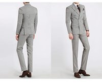Wholesale Pure Trims - 2015 New Arrivalc Pure Grey Double-Breasted Side Vent Groom Tuxedos Peaked Lapel Slim Fit Men's Wedding Dress Holiday Clothing Business Suit