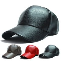 Wholesale Leather Baseball Caps For Men - In the winter of 2016 pu leather baseball cap motorcycle driver outdoor sports snapback hats for men, women, hats and caps