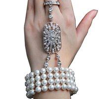 Wholesale Body Chain Pearl Jewelry - 2017 New wedding jewelry The Great Gatsby Bridal Bridesmaid Crystal pearl Bracelet Set Bridal Jewelry CPA238