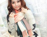 tartan schal koreanisch großhandel-Christmas Lady Blanket Übergroße Tartan Schal Wrap Schal Plaid Gemütlich überprüft Acrylfasern bunten Dual-Zweck koreanischen Kragen WJ22