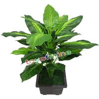 ingrosso albero sempreverde-Lifelike 25 Leaves 55 Cm Tessuto in lattice Matrimonio Pianta sempreverde artificiale Pianta in vaso verde con simulazione di fiori decorativi