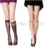 Wholesale Black Womens Stockings - Wholesale-Free Shipping 20pcs=10 pairs lot Womens Fashion Knee highs socks,comfortable cool nylon stocking