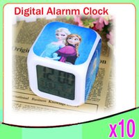 Wholesale Led Alarm Clock Digital Nz - DHL 10PCS New LED 7 Colors Change Digital Alarm Clock Frozen Anna and Elsa Thermometer Night Colorful Glowing Clock ZY-NZ-1