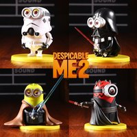 4pcs / set Neue Minions Cosplay Star Wars Yoda Darth Vader Stormtrooper Darth Maul PVC Action Figure Modell Spielzeug 8cm original Box