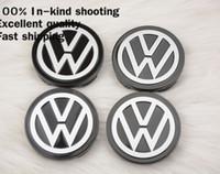 Wholesale Vw Passat Alloy Wheels - 4 X 58MM BLACK Volkswagen WHEEL Hub Center LOGO Caps emblem Fits for VW Golf 6 Jetta MK5 MK6 POLO passat B5 B6 B7