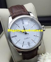 Wholesale Man Vintage Watches Brown - Top Quality Men's Automatic Watch Men White Dial Stainless Steel Vintage Cellini Mens Brown Black Calf Leather Strap 50509 Business Watches