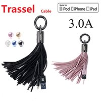 Wholesale Keyring Charger - USB Cable for iPhone Leather tassel Keychain fast charger Metal keyring Data cable for iPhone 7\6\5 Samsung