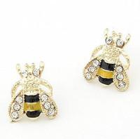 Wholesale bee cute - Wholesale Jewelry (24pair lot) Cute Honey Bee Stud Earrings